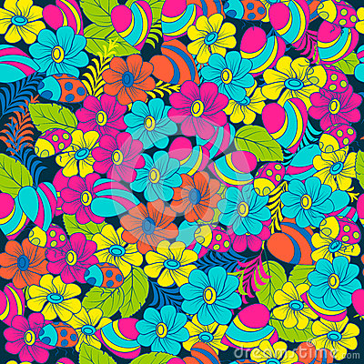 Free Seamless Multicolor Pattern Spring Nature. Ladybugs And Flowers. For Textiles And Packaging Royalty Free Stock Image - 77990926
