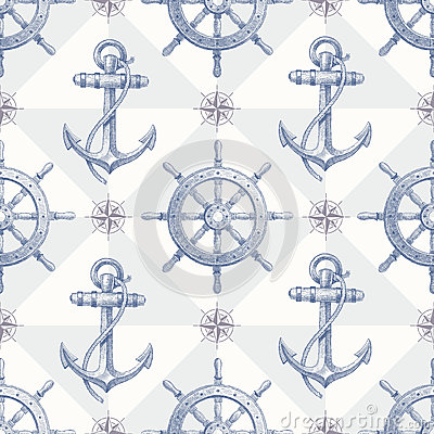 Seamless nautical background with hand drawn eleme