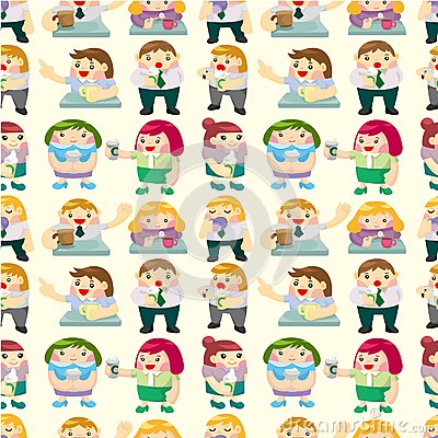 Seamless office worker tea time pattern