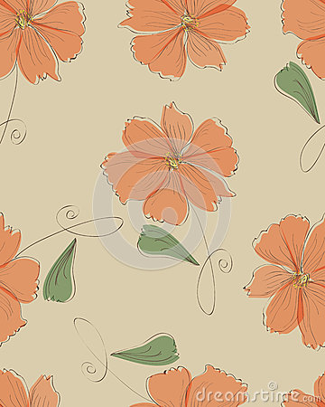 Seamless orange flower pattern