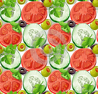 Seamless ornament delicious slices of cucumber and