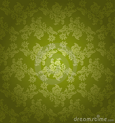 Seamless ornament floral, green