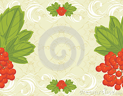 Seamless ornamental background with red berries bu