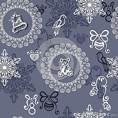 Seamless Ornate Winter Pattern (Vector)