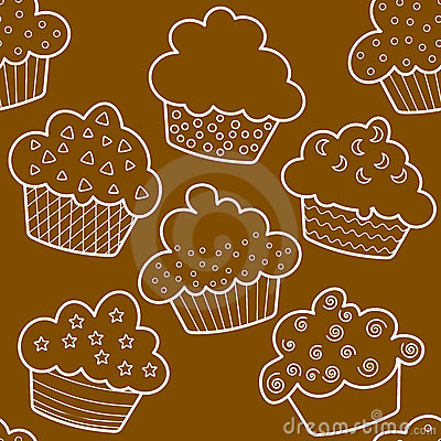 Seamless outlined brown cupcakes