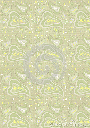 Seamless paisley pattern on light green background
