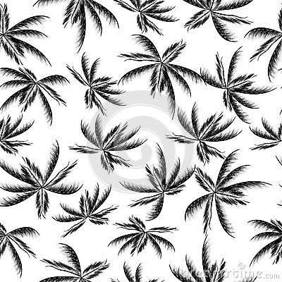 Seamless palm leaves