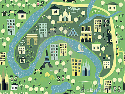 Seamless paris background in vector