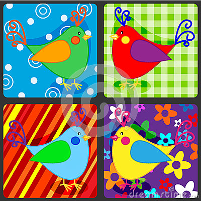 Seamless patchwork birds