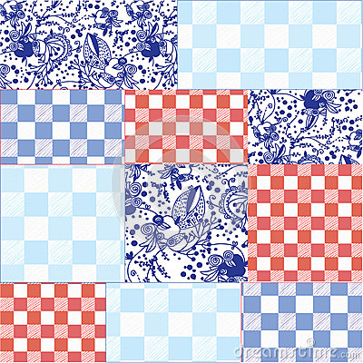 Seamless patchwork pattern delfts blue
