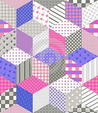 Free Seamless Patchwork Pattern. Quilting Design With Stars From Different Patches. Royalty Free Stock Image - 69576776