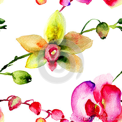 Seamless patter with Orchids flowers