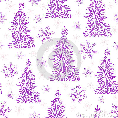 Seamless pattern with abstract christmas trees