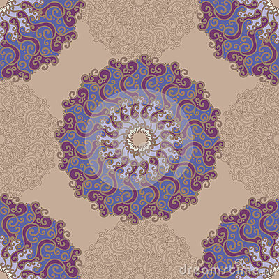 Seamless pattern with abstract elements, damask tiles