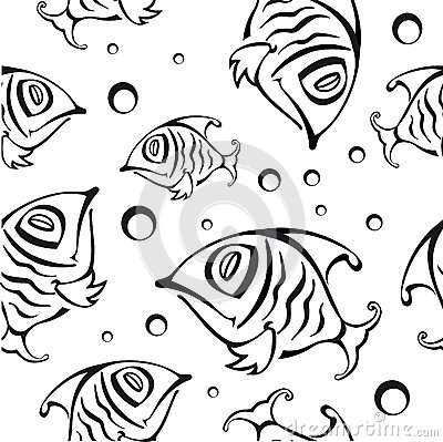 Seamless pattern with abstract fish