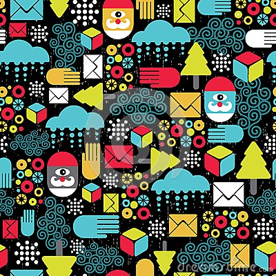 Seamless pattern with abstract Santa.