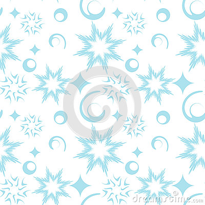 Seamless pattern with abstract snowflakes