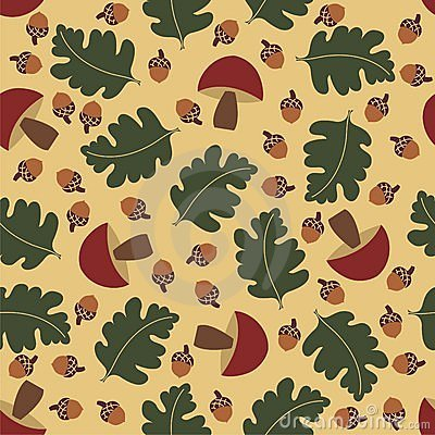 Seamless pattern with acorns and mushrooms