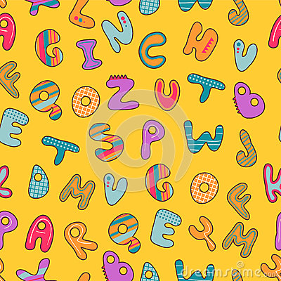 Seamless pattern with alphabet