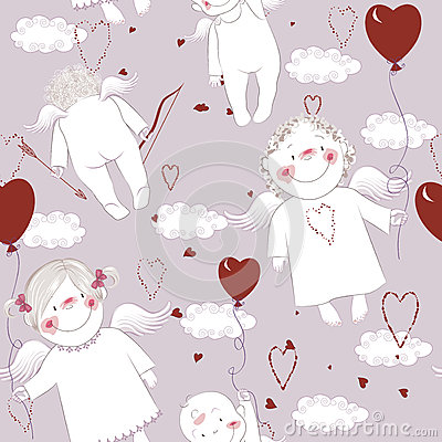 Seamless pattern with angels