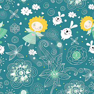 Seamless pattern of the angels and rabbits