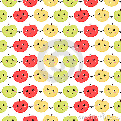 Seamless pattern of apples.  Vector illustration. Background
