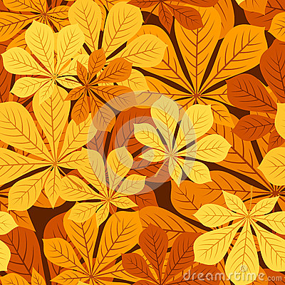 Seamless pattern with autumn chestnut leaves. Vect