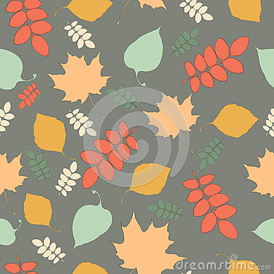 Seamless pattern with autumn leaf fall