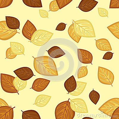 Seamless pattern with autumn leaves. Vector illust