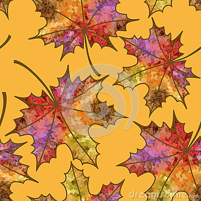 Seamless pattern of autumn maple leaves