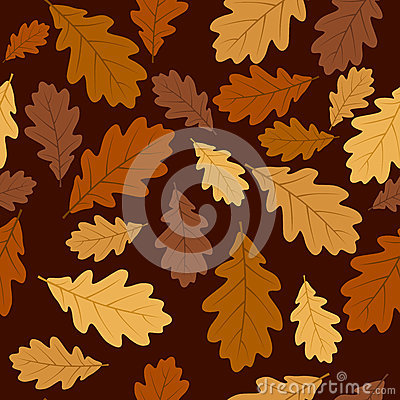 Seamless pattern with autumn oak leaves. Vector EP