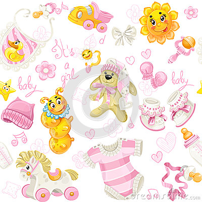 Seamless pattern of baby stuff its a girl