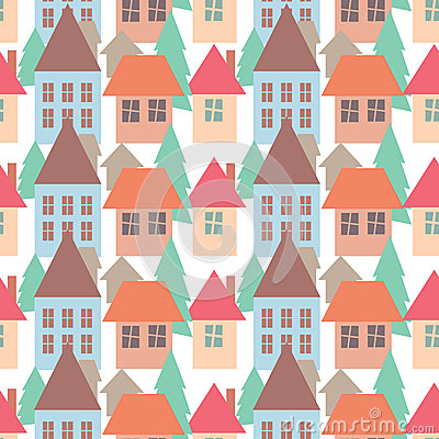 Seamless pattern background of colorful houses pattern