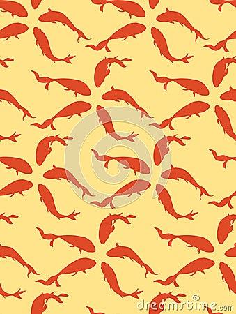 Seamless pattern background whith goldfish