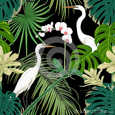 Free Seamless Pattern, Background. With Tropical Plants And Flowers With White Orchid Flowers And Tropical Birds. Royalty Free Stock Photo - 125535805