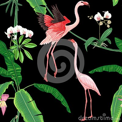 Free Seamless Pattern, Background. With Tropical Plants And Flowers With White Orchid Flowers And Tropical Birds. Stock Image - 125536491