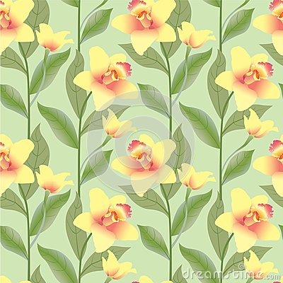 Seamless pattern background with yello flowers, or
