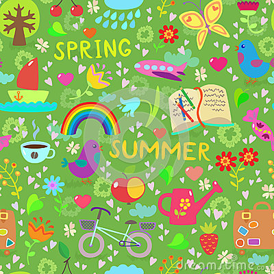 Spring and summer seamless pattern