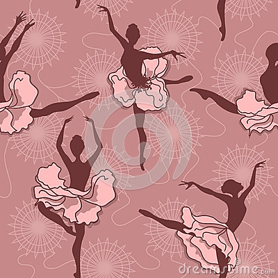 Seamless pattern of ballet dancers