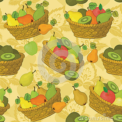 Free Seamless Pattern, Baskets And Fruits Royalty Free Stock Photos - 60320428