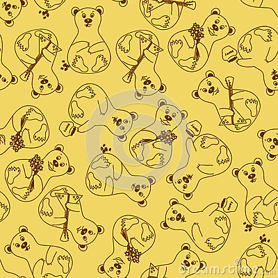Seamless pattern of bears