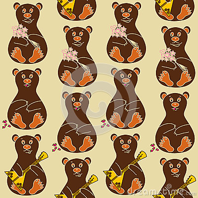 Seamless pattern of bears