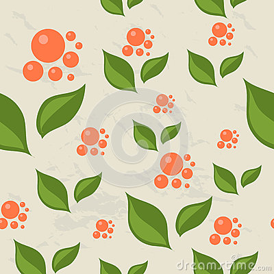 Seamless pattern with berries and leaves.