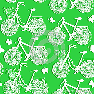 Seamless pattern of bicycles made of paper