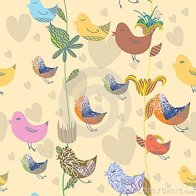 Seamless pattern with bird and flower