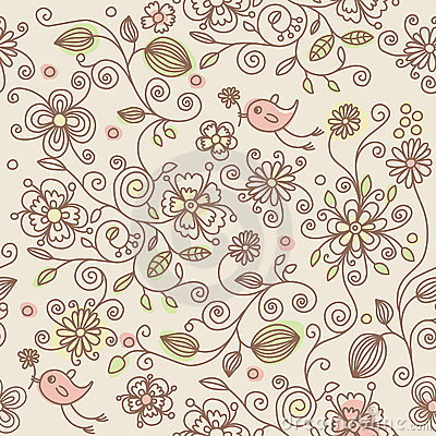 Seamless pattern - birds in flowers
