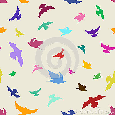 Seamless pattern of birds
