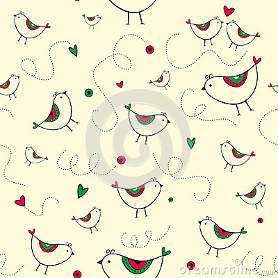 Seamless pattern with birds and hearts