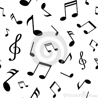 Seamless pattern with black music notes on white background. Vector illustration Cartoon Illustration