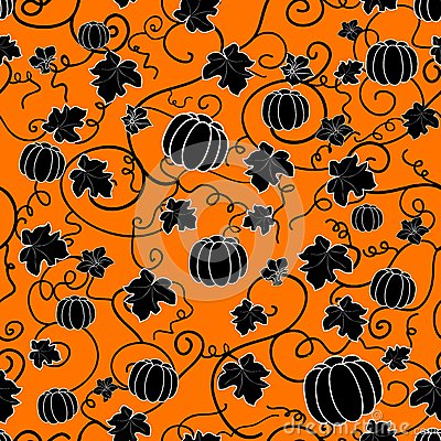 Seamless pattern with black pumpkins